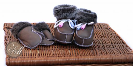 Baby Lammfellschuhe & Lammfell Handschuhe Set Taupe