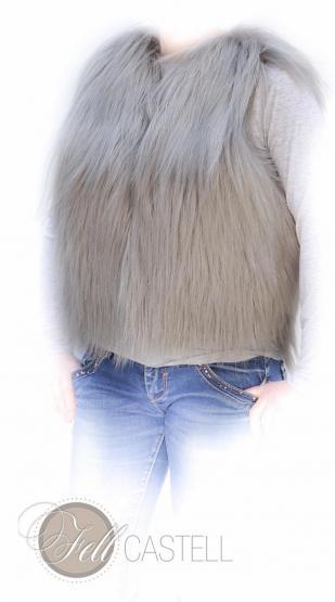 Fellweste aus lanhaarigem Ziegenfell Weste Damen Grau