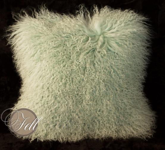 Kissen Tibetlammfell 30 x 30 cm Smoke Green Fellkissen Tibet Lammfell Mongolisches Lammfell