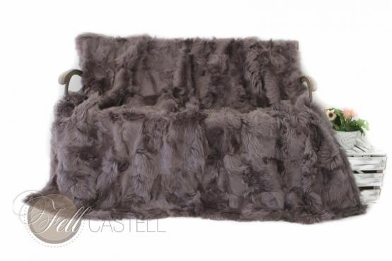 Lammfell Decke 200x155 cm Grau-Lila Patchwork Toscana Lammfelldecke Rückseite Leder