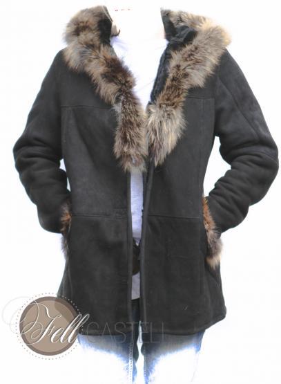 Lammfelljacke Damen Schwarz mit Fuchs- oder Waschbärbesatz Kapuzenjacke 42 / XL 42 / XL