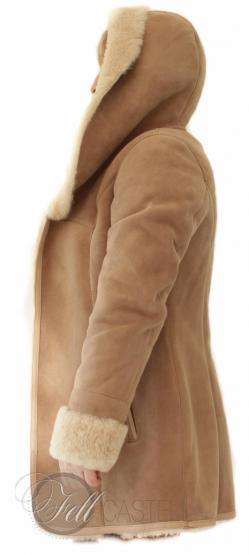 Genuine Lambskin Hooded Jacket Woman Beige