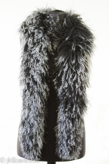 Schal, Stola, Boa aus Tibetlammfell - schwarz mit hellen Spitzen