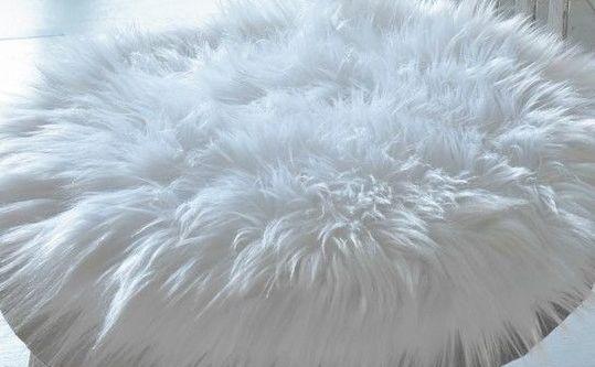 Stuhlauflage aus Schaffell Naturweiss Ø 38 cm ungepolstert