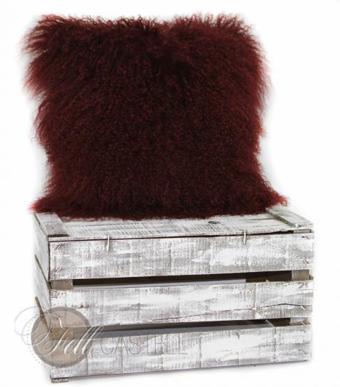 Tibet Lammfell Kissen Zottelkissen Sofakissen Fellkissen Bordeaux 30 x 30 cm 30 x 30 cm
