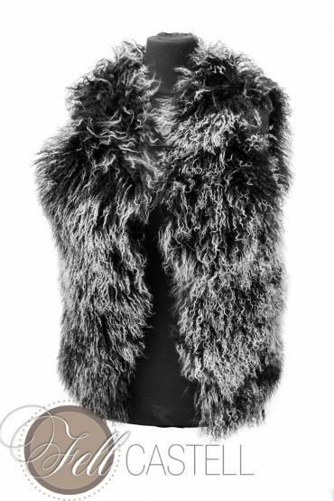 tibet lammfell weste damen schwarz mit wei en spitzen tibet lammfellweste fellweste. Black Bedroom Furniture Sets. Home Design Ideas