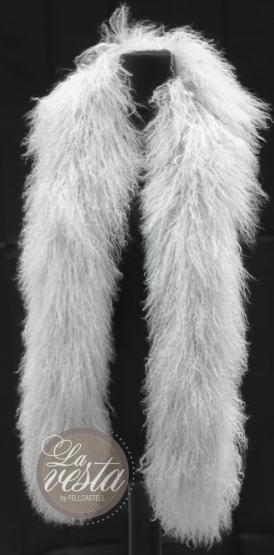 Tibetlammfell Boa150 cm cool grey Stola Schal Mongolisches Lammfell nebelgrau