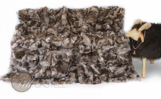 Toscana Lammfelldecke 200x155 cm Weiss mit Schwarz-Braunen Spitzen Patchwork abgefüttert