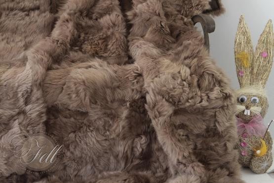 Lammfelldecke 200x155 cm Braun abgefüttert Patchwork