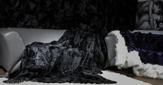 Lammfelldecke Felldecke 200 x 155 cm Schwarz geschoren