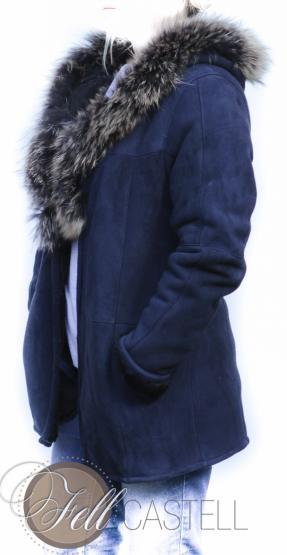 Lammfelljacke Damen Velourleder dunkelblau Lammfell Jacke mit Kapuze