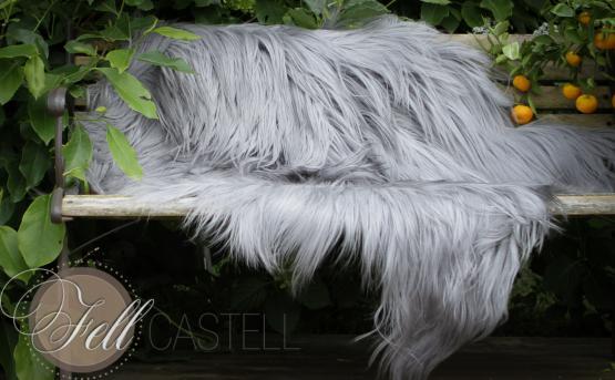 Mongolisches Ziegenfell 85 cm Himalaya Ziegenfell platinum, langes glattes Fell
