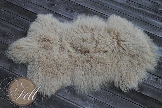 Real Tibetan Lamb Curly Lambskin Sheepskin Beige Pebble