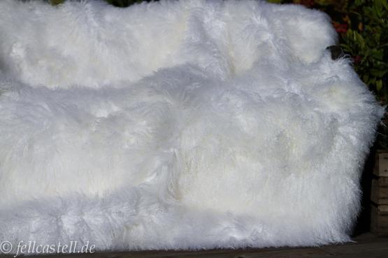 Tibet Lammfell Teppich 350 x 95 cm schnee weiß Tibetlamell Läufer