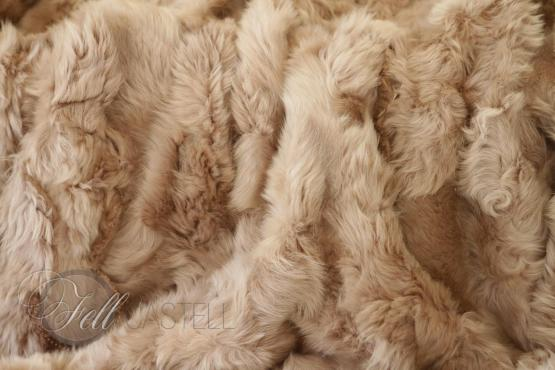 Toscana Lammfell Decke Camel Braun abgefüttert