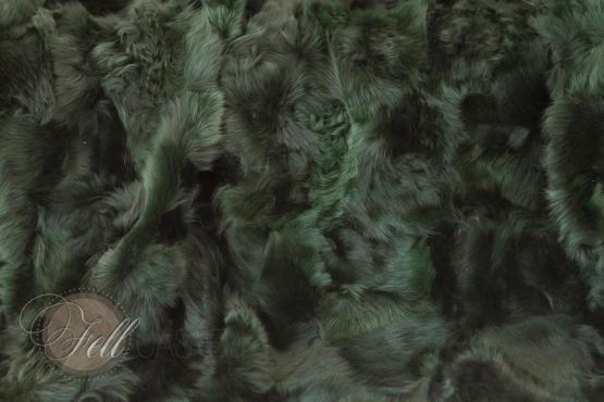Toscana Lammfell Decke Grün 200x155 cm Patchwork Rückseite Leder