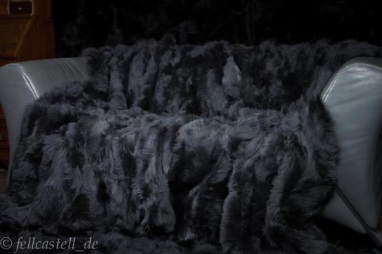 Toscana Lammfelldecke 200x155 cm Schiefergrau abgefüttert Patchwork