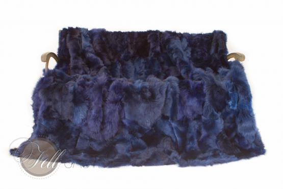 Toscana Lammfelldecke Blau 200 x 155 cm Patchwork Rückseite Leder