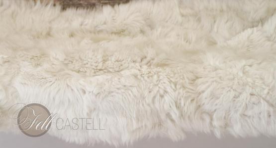 kleine Lammfell Decke Naturweiss Patchwork Rückseite Leder Lammfellteppich