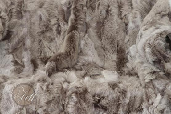 Lammfell Decke 210x200 cm Patchwork Taupe mit grauen Spitzen abgefüttert