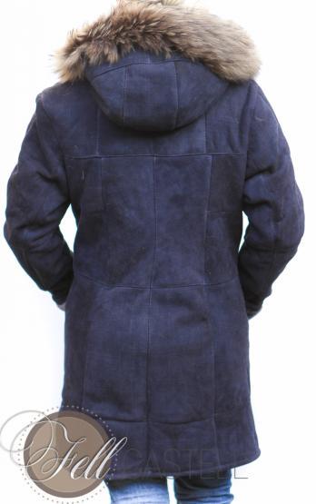 Lammfelljacke Damen Gr. 40 Velourleder dunkelblau mit Kapuze