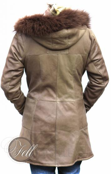 Lammfelljacke Damen mit Kapuze beige hellbraun