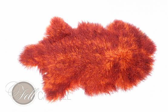 Tibet Lammfell zweifarbig Orange mit Bordeaux Spitzen gefärbt