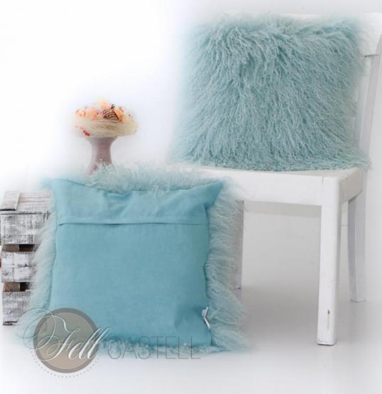 tibetlamm kissen pastell tuerkistibet lammfell zottelkissen sofakissen fellkissen lammfell. Black Bedroom Furniture Sets. Home Design Ideas