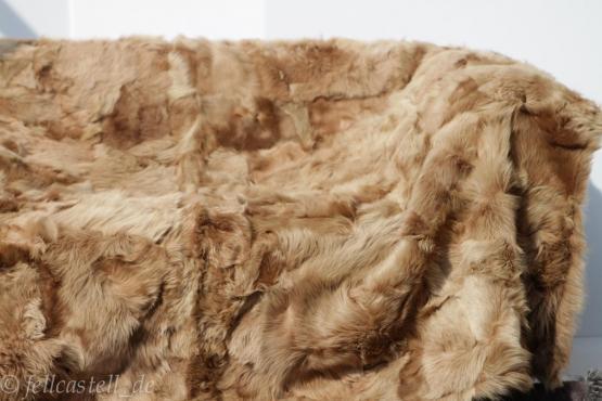 Toscana Lammfelldecke 200x155 cm Braun abgefüttert Patchwork