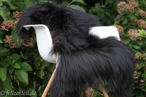 Island Schaffell schwarz ungefärbt 90 cm