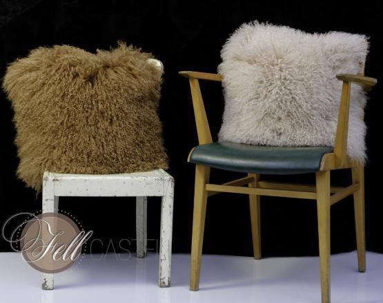 Pillow Cushion 12 x 12 inch Tibetan Lambskin Mongolian Sheepskin