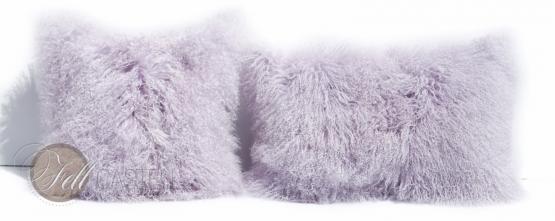 Kissen Tibetlammfell 45 x 45 cm Lavender Fog Fellkissen Tibet Lammfell Mongolisches Lammfell