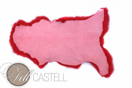Lammfell Schaffell rot gefärbt 100 cm