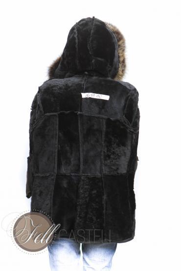 Lammfelljacke Damen Schwarz mit Fuchs- oder Waschbärbesatz Kapuzenjacke 44 / XXL 44 / XXL