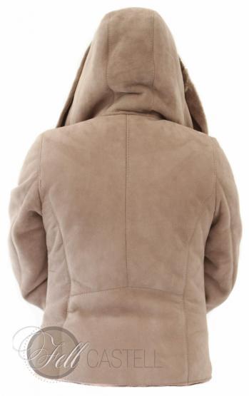 Lammfelljacke Damen Velourleder Beige Fell Braun kurz geschoren Kapuzenjacke mit Reißverschluss