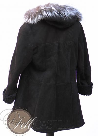 Lammfelljacke Kapuzenjacke Damen schwarz Velourleder Fuchsbesatz