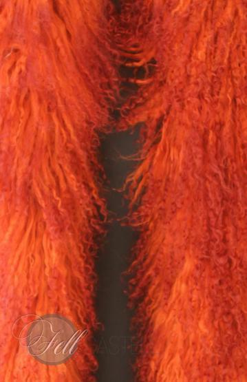 Stola Boa Schal Tibetlamm Tibetlammfell 150cm Orange mit Bordeaux Spitzen
