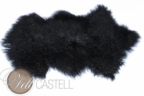 Tibetlammfell Mongolisches Lammfell schwarz 100 x 50 cm