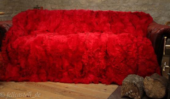 Toscana Lammfelldecke rot 200 x 155 cm Rueckseite Leder