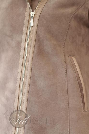 Lammfelljacke Damen Velourleder Beige Fell Braun kurz geschoren Kapuzenjacke mit Reißverschluss 36 / S 36 / S