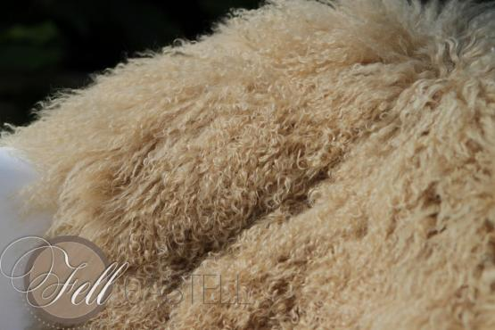 Tibet Lammfell XF Beige aus 1,5 Fellen zusammen genäht Terra Siena 115 x 50 cm 115 x 50 cm