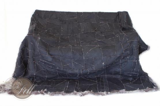 Toscana Lammfelldecke 200 x 155 cm Rückseite Leder Taupe Snow Tops Patchwork