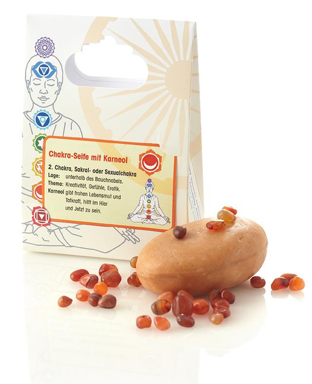 Chakra Seife mit Heilstein Karneol 90 g