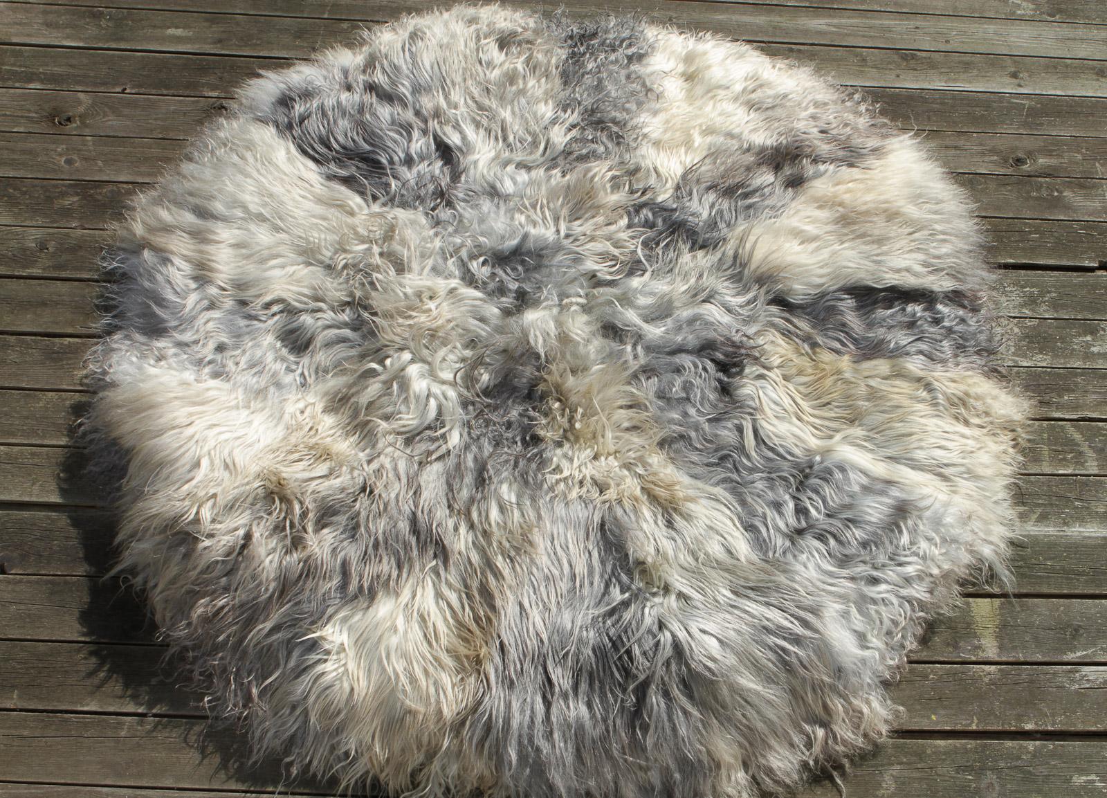 Gotland Schaffell Teppich rund 110 cm Durchmesser