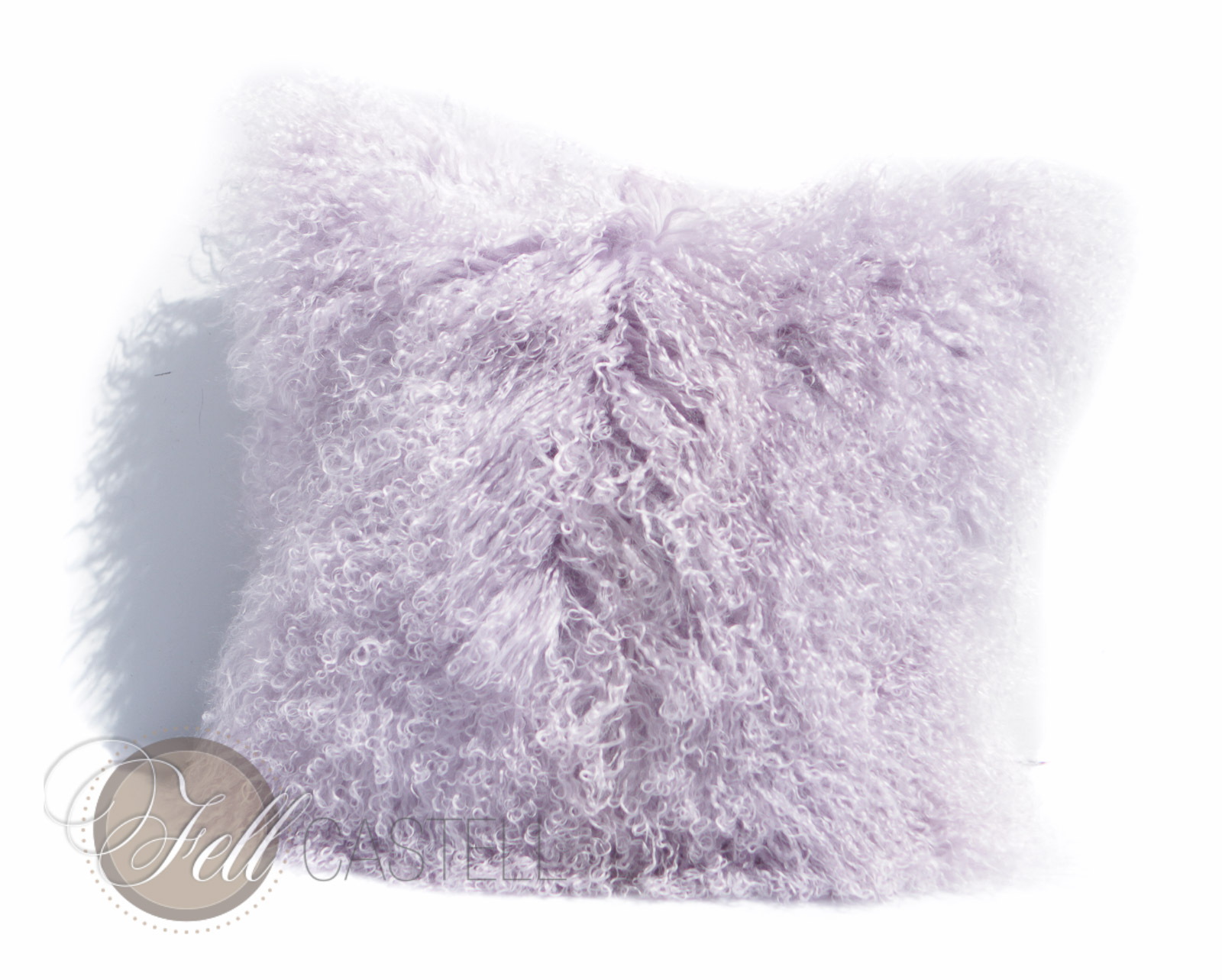 Tibetan Lambskin Pillow 18 X 18 Inch Lavender Fog Mongolian