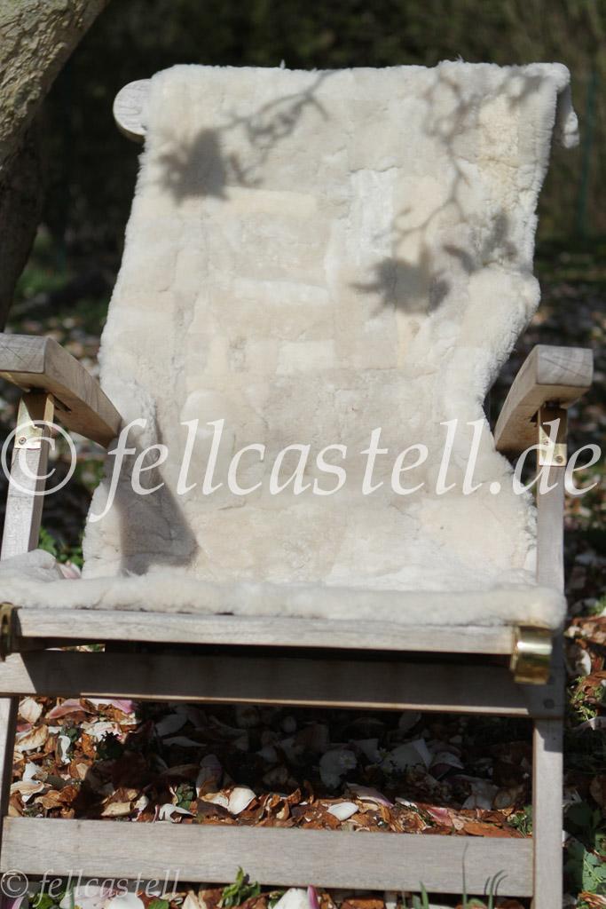 Kleine Lammfelldecke 155x55 cm Hellbeige Patchwork