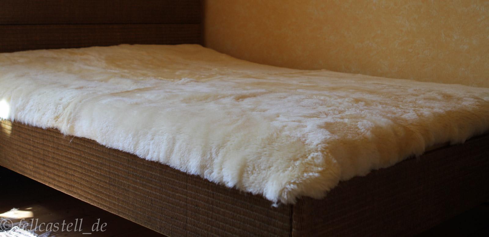 Lammfell Bettauflage 200 x 100 cm Betteinlage Unterbett med. Gerbung