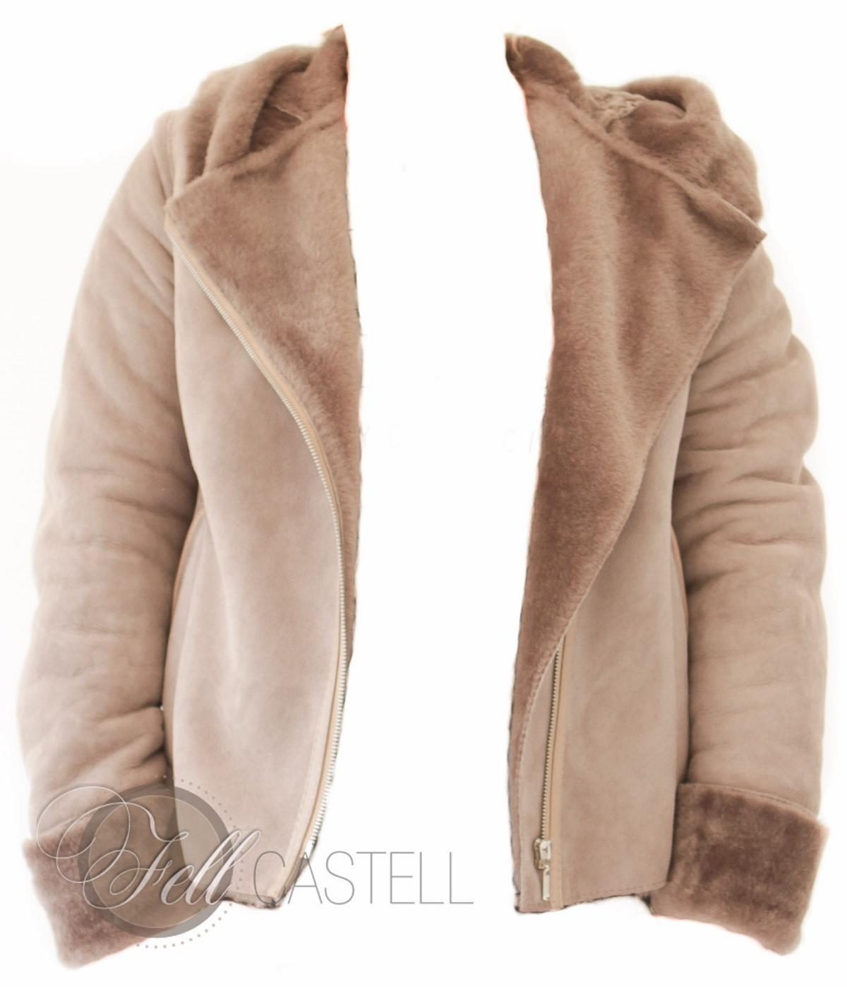 Lammfelljacke Damen Velourleder Beige Fell Braun kurz geschoren Kapuzenjacke mit Reißverschluss 40 / L 40 / L