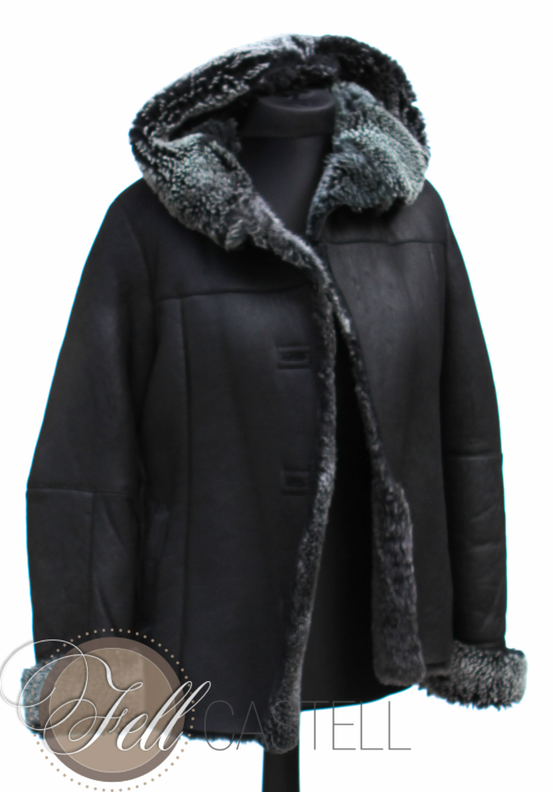 lammfelljacke kapuzenjacke damen schwarz gr 40 lammfell schaffell shop. Black Bedroom Furniture Sets. Home Design Ideas