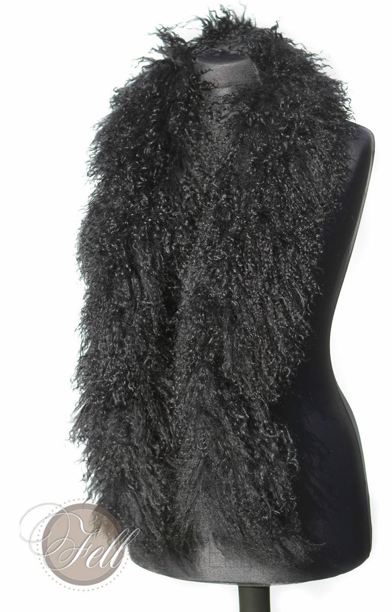 Schal, Stola, Boa aus Tibetlammfell 150 cm lang schwarz